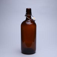 Стеклянная бутылка с бугельным замком 1л, коричневая, бугель