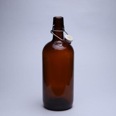 Крышка 1000 Стеклянная бутылка с бугельным замком 1л, коричневая, бугель