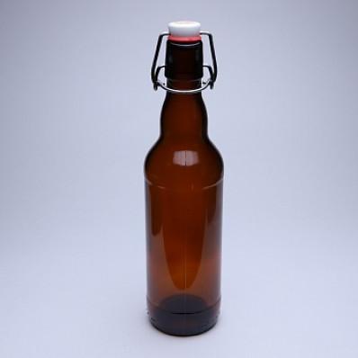 Стеклянная бутылка с бугельным замком 0,5 л, коричневая, бугель