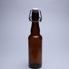 Стеклянная бутылка с бугельным замком 0,33 л, коричневая, бугель