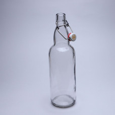 1000 Стеклянная бутылка с бугельным замком 1л, прозрачная, бугель