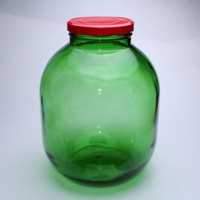 Стеклянная банка 75500мл зеленая с красной крышкой