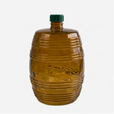"Стеклянный бутыль ""Бочонок""10л, коричневое стекло, крышка"