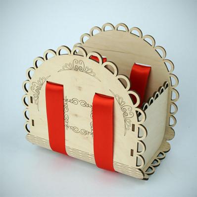 "Крышка Коробка деревянная с лентой ""Цветочная"" 180х175х117"