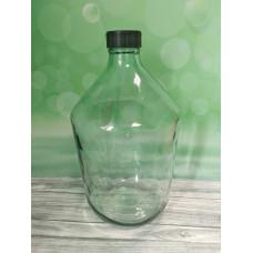 Стеклянный бутыль 10л, прозрачное стекло, крышка
