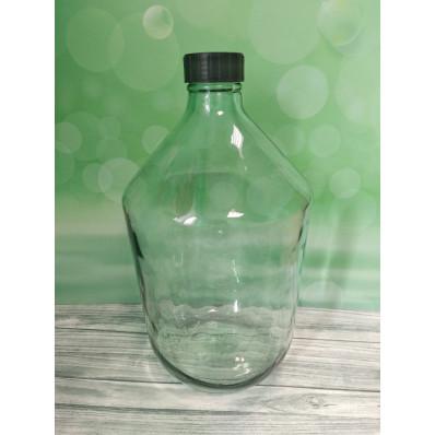 """10000 Стеклянная бутыль """"Казацкий"""" 10л, прозрачное стекло, крышка"""