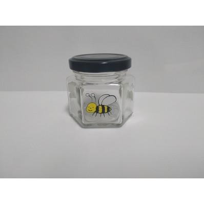 Стеклянная банка Соты с пчелками, 100 мл, ТО-58 мм
